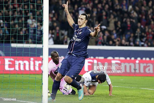 PSG's Swedish forward Zlatan Ibrahimovic celebrates after scoring a goal during the French L1 football match between Paris SaintGermain and Troyes on...