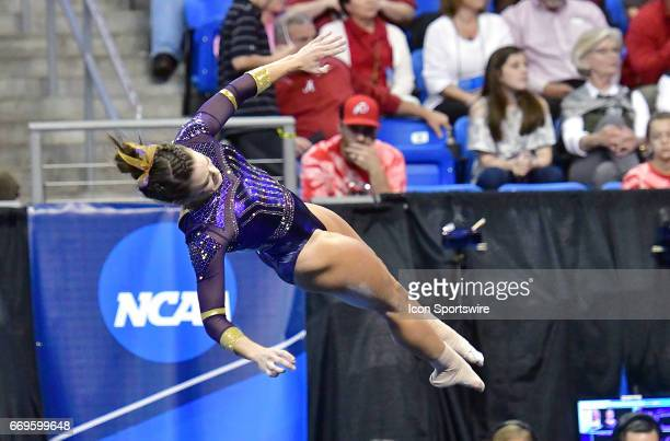 LSU's Sydney Ewing tumbles during her floor exercise during the finals of the NCAA Women's Gymnastics National Championship on April 15 at Chaifetz...