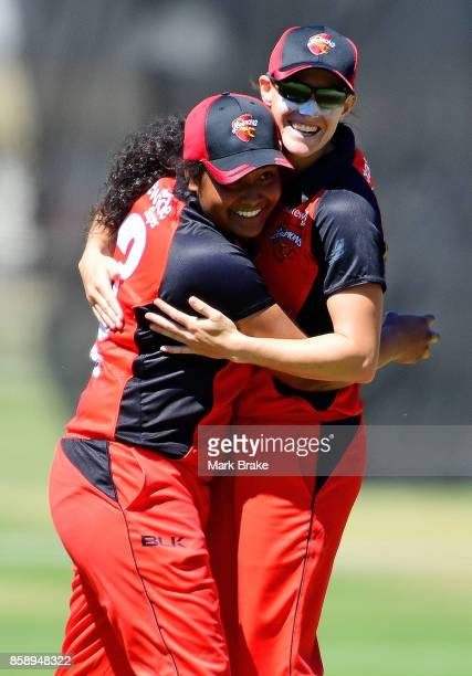 SA's Tabatha Saville hugs Megan Schutt after catching Veronica Pyke during the WNCL match between South Australia and Tasmania at Adelaide Oval No2...