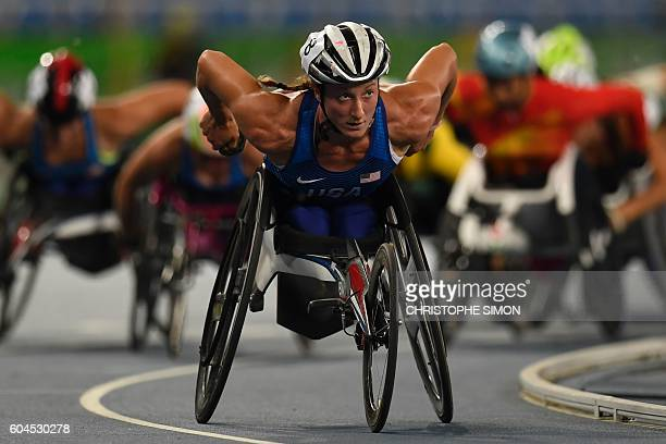 TOPSHOT USA's Tatyana McFadden leads to win the women's 1500M race at the Olympic Stadium during the Rio 2016 Paralympic Games in Rio de Janeiro...