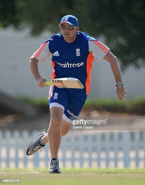 ECB's Technical Director of Elite Cricket Coaching Andy Flower during a nets session at the ICC Cricket Academy on November 22 2015 in Dubai United...