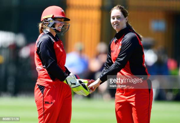SA's Tegan McPharlin and Amanda Wellington during the WNCL match between South Australia and Tasmania at Adelaide Oval No2 on October 8 2017 in...
