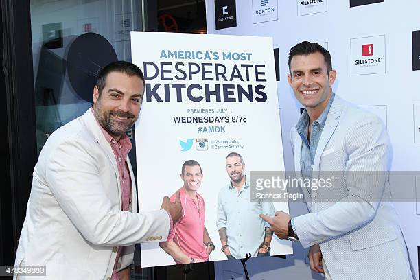 HGTV's The Cousins Anthony Carrino and John Colaneri attend the America's Most Desperate Kitchens Premiere Party at Carrino Provisions on June 24...