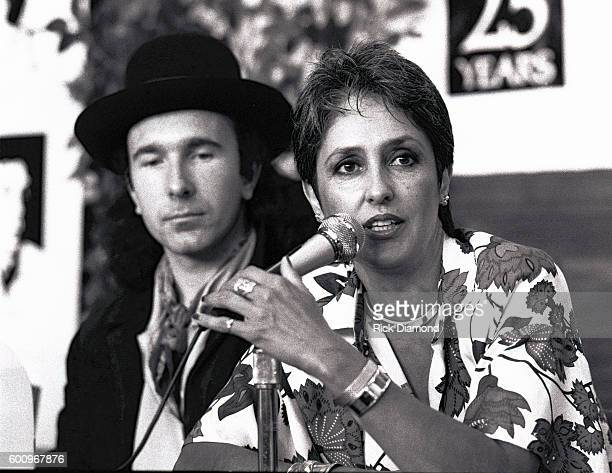 U2's the Edge along with Singer/Songwriter Joan Baez attend a press conference discussing The Conspiracy of Hope tour celebrating Amnesty...