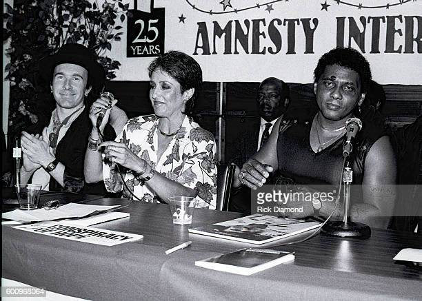 U2's the Edge Singer/Songwriter Joan Baez and Aaron Neville attend a press conference discussing The Conspiracy of Hope tour celebrating Amnesty...