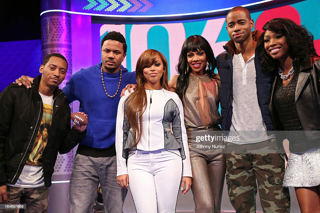 BET's 'The Game' castmembers Barry Floyd, <a gi-track='captionPersonalityLinkClicked' href=/galleries/search?phrase=Hosea+Chanchez&family=editorial&specificpeople=879950 ng-click='$event.stopPropagation()'>Hosea Chanchez</a>, <a gi-track='captionPersonalityLinkClicked' href=/galleries/search?phrase=Lauren+London&family=editorial&specificpeople=629462 ng-click='$event.stopPropagation()'>Lauren London</a>, <a gi-track='captionPersonalityLinkClicked' href=/galleries/search?phrase=Wendy+Raquel+Robinson&family=editorial&specificpeople=631178 ng-click='$event.stopPropagation()'>Wendy Raquel Robinson</a>, Jay R. Ellis, and Brandy visit BET's '106 & Park' at BET Studios on March 26, 2013, in New York City.