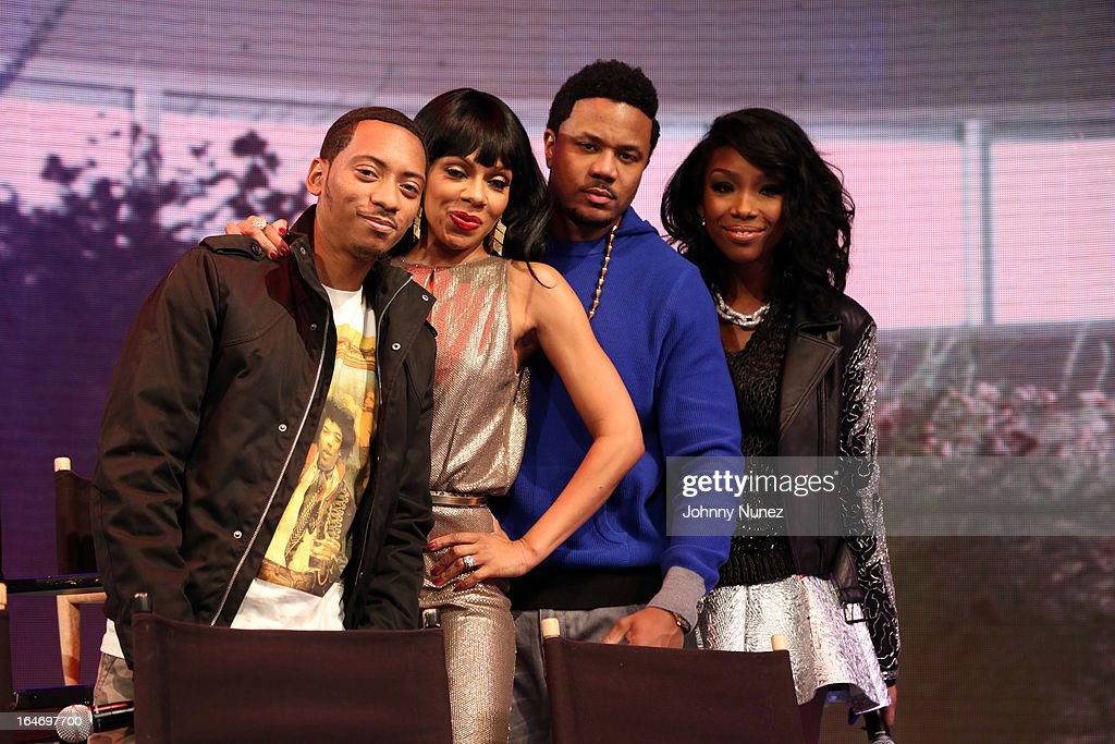 BET's 'The Game' castmembers Barry Floyd, <a gi-track='captionPersonalityLinkClicked' href=/galleries/search?phrase=Wendy+Raquel+Robinson&family=editorial&specificpeople=631178 ng-click='$event.stopPropagation()'>Wendy Raquel Robinson</a>, <a gi-track='captionPersonalityLinkClicked' href=/galleries/search?phrase=Hosea+Chanchez&family=editorial&specificpeople=879950 ng-click='$event.stopPropagation()'>Hosea Chanchez</a>, and Brandy BET's '106 & Park' at BET Studios on March 26, 2013, in New York City.