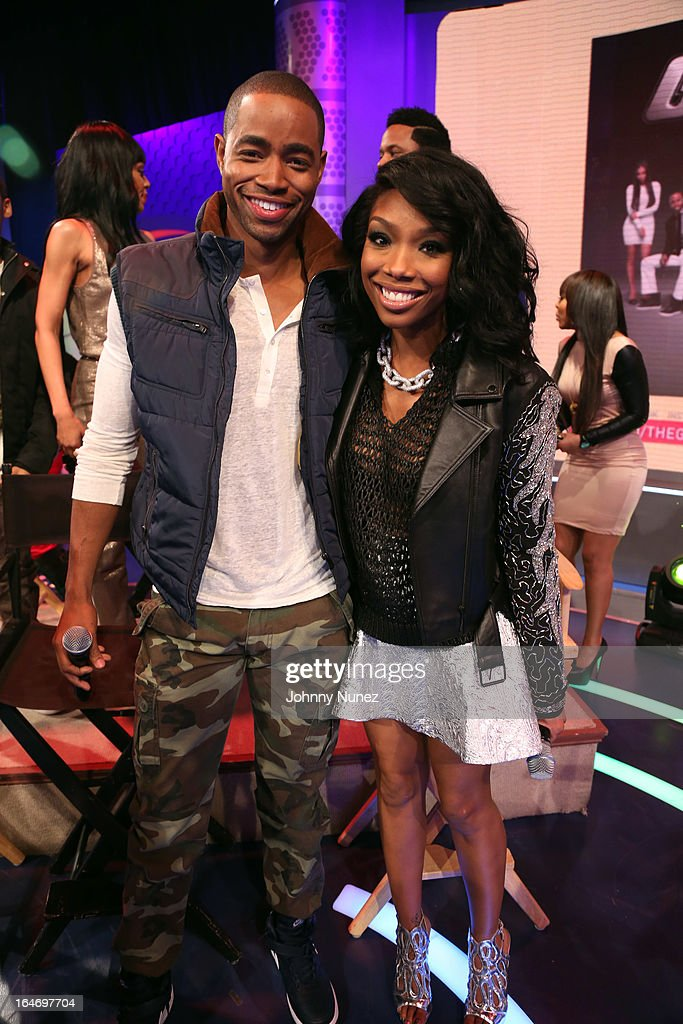 BET's 'The Game' castmembers Jay R. Ellis and Brandy visit BET's '106 & Park' at BET Studios on March 26, 2013, in New York City.