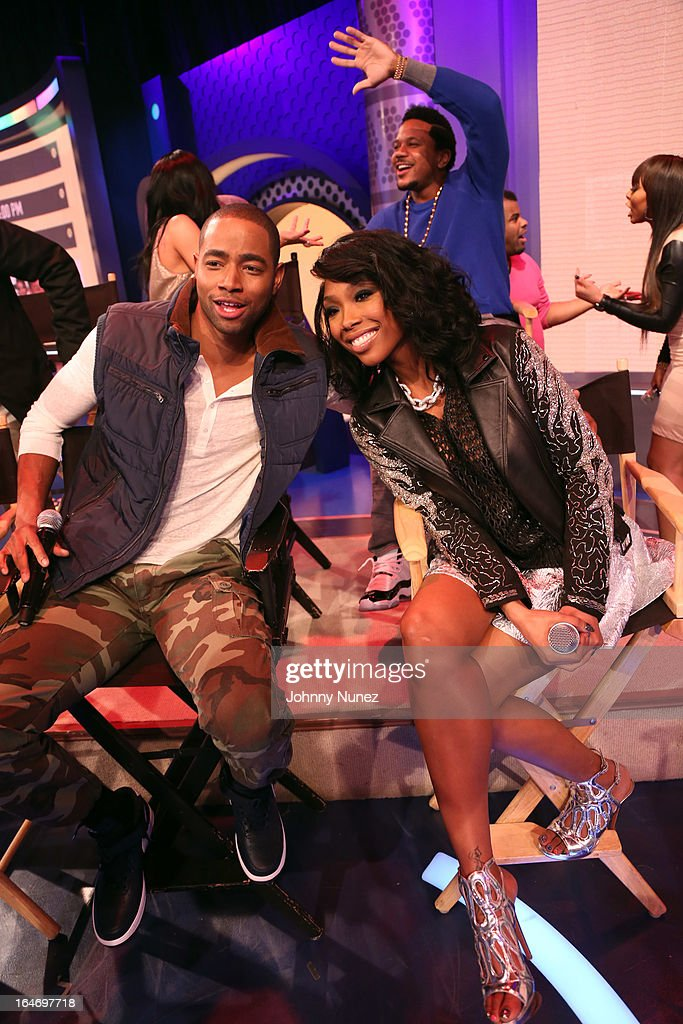 BET's 'The Game' castmembers Jay R. Ellis, Brandy, and <a gi-track='captionPersonalityLinkClicked' href=/galleries/search?phrase=Hosea+Chanchez&family=editorial&specificpeople=879950 ng-click='$event.stopPropagation()'>Hosea Chanchez</a> (rear) visit BET's '106 & Park' at BET Studios on March 26, 2013, in New York City.