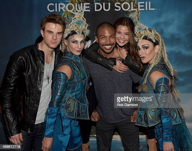 CW's 'The Originals' cast members Nathaniel Buzolic Charles Michael Davis and Danielle Campbell attend Amaluna opening night at the Big Top at...