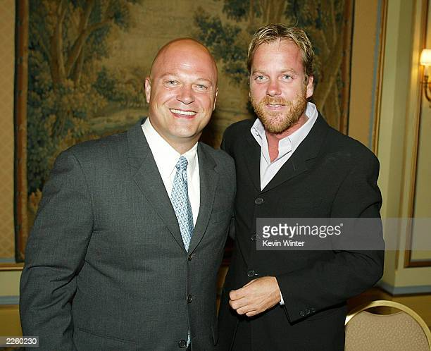 FX's 'The Shield' star Michael Chiklis and FOX '24' star Kiefer Sutherland at the 2002 Summer TCA Awards Ceremony held at the Ritz Carlton Hotel Los...