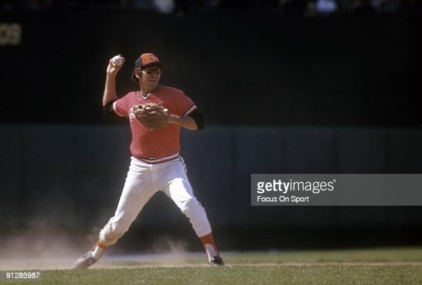 BALTIMORE MD CIRCA 1970's Third baseman Brooks Robinson of the Baltimore Orioles in action throws to first base during a circa 1970's Major League...
