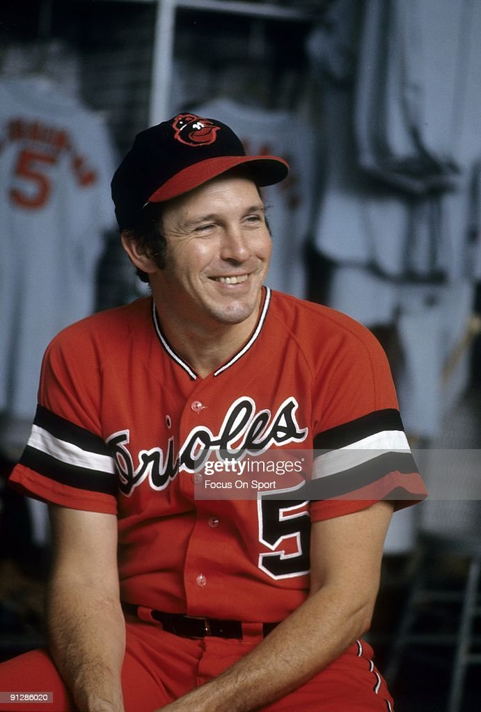 BALTIMORE, MD - CIRCA 1970's: Third baseman <a gi-track='captionPersonalityLinkClicked' href=/galleries/search?phrase=Brooks+Robinson&family=editorial&specificpeople=213977 ng-click='$event.stopPropagation()'>Brooks Robinson</a> #5 of the Baltimore Orioles sitting in front of his locker before a circa 1970's Major League Baseball game at Memorial Stadium in Baltimore, Maryland. Robinson played for the Orioles from 1955-77.