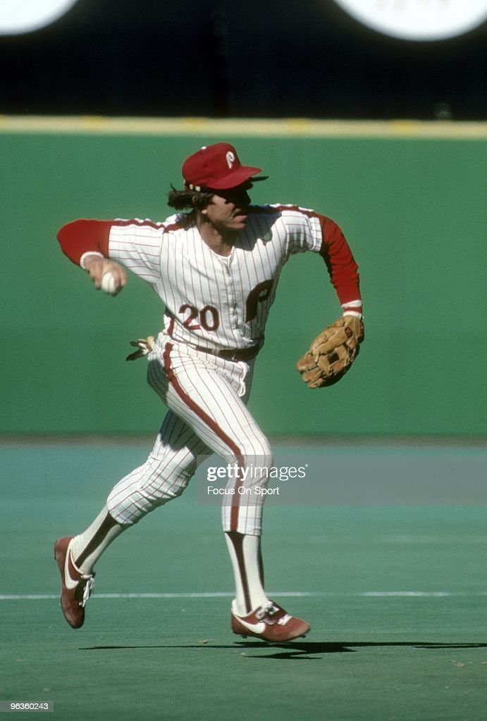 Third Baseman <a gi-track='captionPersonalityLinkClicked' href=/galleries/search?phrase=Mike+Schmidt+-+Baseball+Player&family=editorial&specificpeople=204523 ng-click='$event.stopPropagation()'>Mike Schmidt</a> #20 of the Philadelphia Phillies in action at making the play at thirdbase during a circa 1980's Major League Baseball game at Veterans Stadium in Philadelphia, Pennsylvania. Schmidt played for the Phillies from 1972-89.