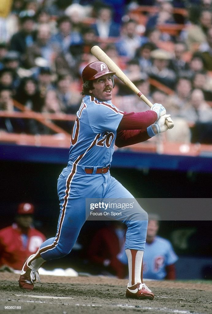 Third Baseman <a gi-track='captionPersonalityLinkClicked' href=/galleries/search?phrase=Mike+Schmidt+-+Baseball+Player&family=editorial&specificpeople=204523 ng-click='$event.stopPropagation()'>Mike Schmidt</a> #20 of the Philadelphia Phillies swings and watches the flight of his ball against the New York Mets during a circa 1980's Major League Baseball game at Shea Stadium in Flushing, New York. Schmidt played for the Phillies from 1972-89.