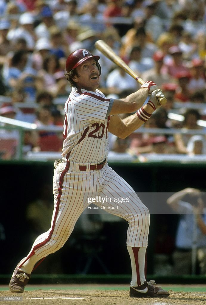 Third Baseman <a gi-track='captionPersonalityLinkClicked' href=/galleries/search?phrase=Mike+Schmidt+-+Baseball+Player&family=editorial&specificpeople=204523 ng-click='$event.stopPropagation()'>Mike Schmidt</a> #20 of the Philadelphia Phillies swings at a pitch during a circa 1970's Major League Baseball game at Veterans Stadium in Philadelphia, Pennsylvania. Schmidt played for the Phillies from 1972-89.