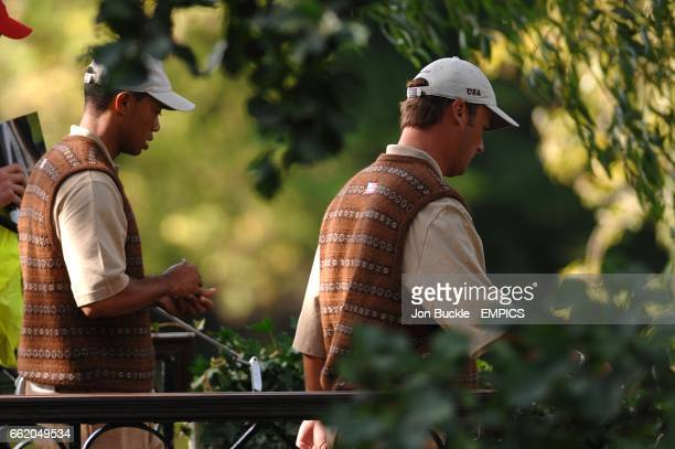 USA's Tiger Woods and Chris DiMarco during their practice round