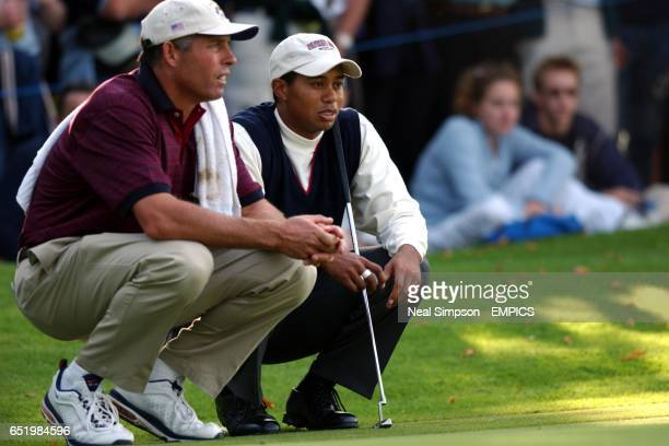 USA's Tiger Woods and his caddie Steve Williams study a putt during his match against Europe's Jesper Parnevik