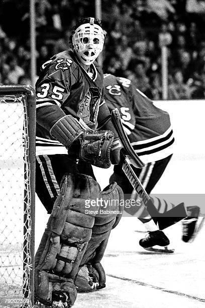 BOSTON MA 1970's Tony Esposito of the Chicago Black Hawks tends goal against the Boston Bruins at Boston Garden