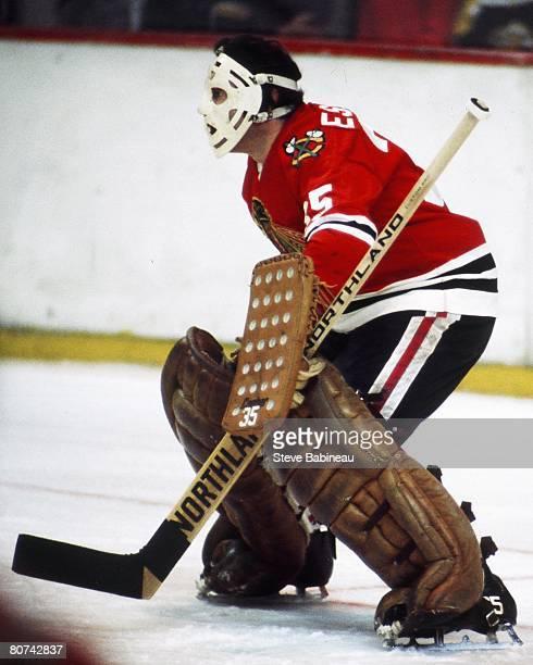 BOSTON MA 1970's Tony Esposito of the Chicago Black Hawks tends goal in game against the Boston Bruins at Boston Garden Garden