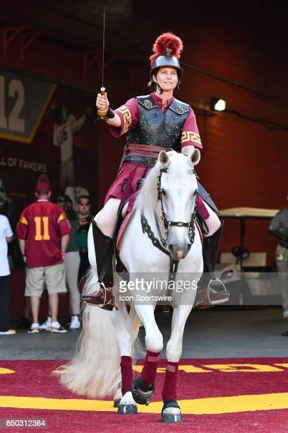 USC's Traveler takes the field before a college football game between the Texas Longhorns and the USC Trojans on September 16 at Los Angeles Memorial...