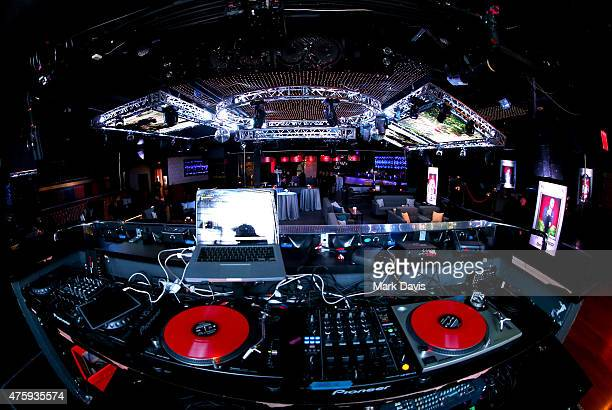 DJ's turntables and laptop are set up at the after party for the 2015 AFI Life Achievement Award Gala Tribute Honoring Steve Martin at the Dolby...