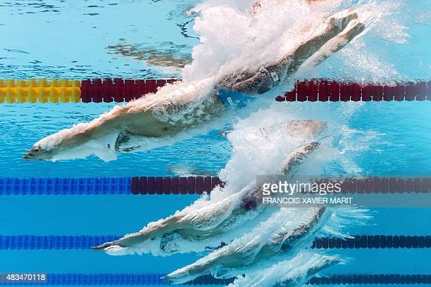 USA's Tyler Clary takes the start a preliminary heat of the men's 400m individual medley swimming event at the 2015 FINA World Championships in Kazan...