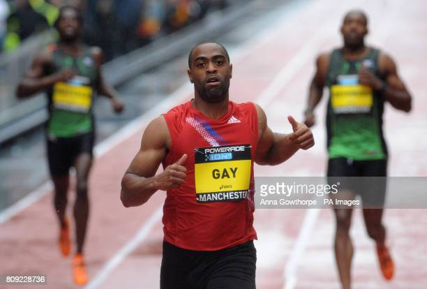 USA's Tyson Gay after winning the Men's 150m Sprint race during the Great City Games Manchester