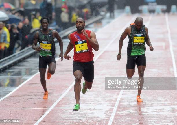 USA's Tyson Gay wins the Men's 150m Sprint race during the Great City Games Manchester