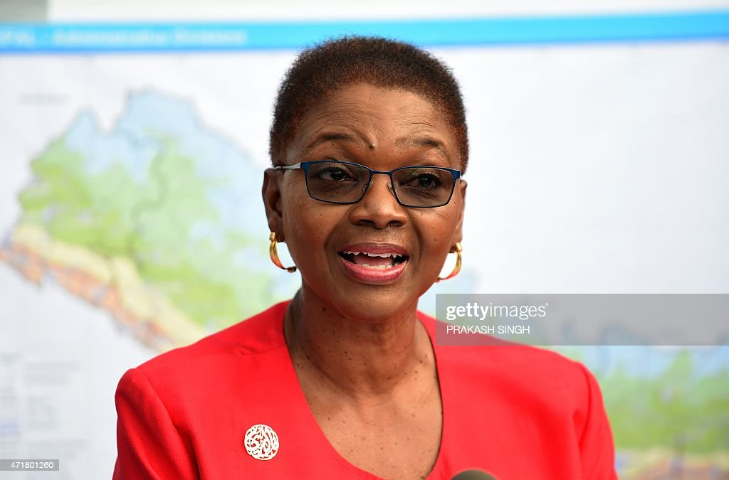 UN's Under Secretary General for Humanitarian Affairs and emergency Relief Coordinator <a gi-track='captionPersonalityLinkClicked' href=/galleries/search?phrase=Valerie+Amos&family=editorial&specificpeople=680128 ng-click='$event.stopPropagation()'>Valerie Amos</a> addresses the media at UN headquarters in Kathmandu on May 1, 2015, following a 7.8 magnitude earthquake which struck the Himalayan nation on April 25. Desperate survivors living at ground zero of Nepal's earthquake felt abandoned to their fate after losing their loved ones and livelihoods in a disaster that has claimed more than 6,300 lives.