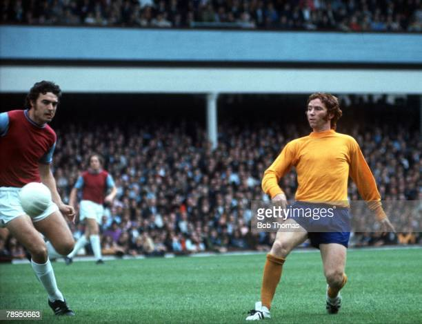 1970's Upton Park West Ham United v Everton Everton's Alan Ball stabs the ball at goal past West Ham's Trevor Brooking