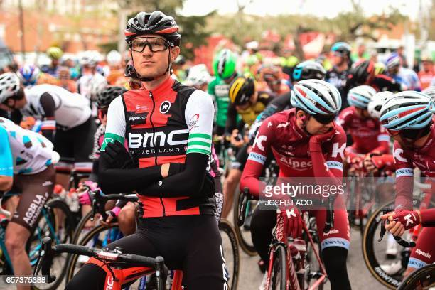 BMC's US rider Tejay Van Garderen sits on his bicycle before the start before the start of the fifth stage of the 97th Volta Catalunya 2017 a 182km...