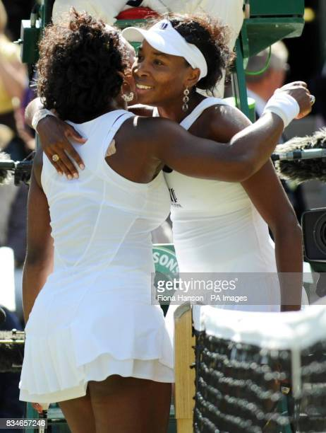 USA's Venus Williams celebrates her victory over USA's Serena Williams in their Women's Final match during the Wimbledon Championships 2008 at the...
