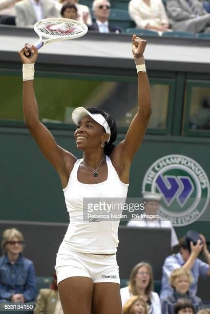 USA's Venus Williams celebrates her win against Russia's Svetlana Kuznetsova during The All England Lawn Tennis Championship at Wimbledon