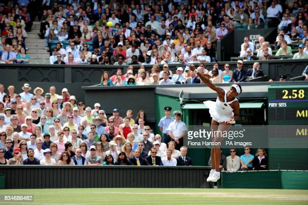 USA's Venus Williams in action during her Women's Final match against USA's Serena Williams during the Wimbledon Championships 2008 at the All...