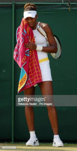 USA's Venus Williams shows her dejection during the third round match against Jelena Jankovic during the third round of The All England Lawn Tennis...