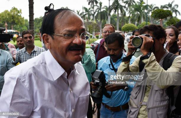 NDA's VicePresidential nominee Venkaiah Naidu arrives for the swearingin ceremony of President Ram Nath Kovind at Parliament on July 25 2017 in New...