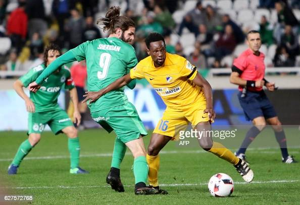 FC's Vinicius Oliveira Franco fights for the ball against Omonia's Cillian Sheridan during their 1st league football match on December 3 at Nicosia's...