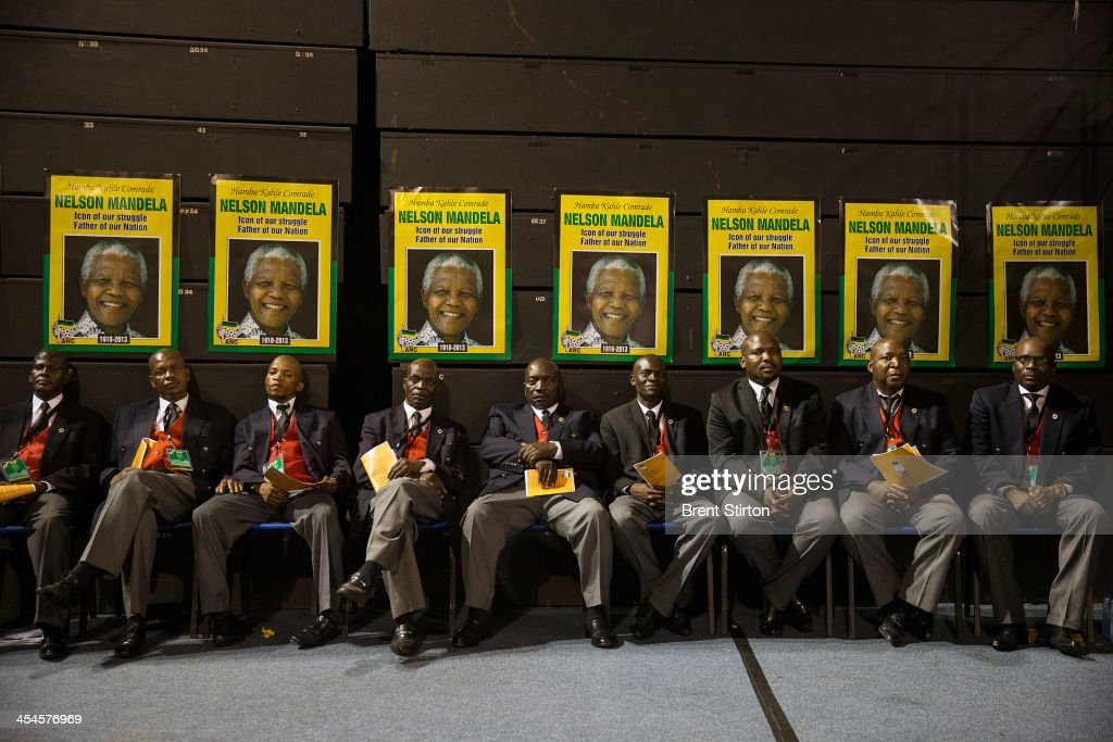 VIP's wait their turn to speak at an ANC rally to pay tribute to Nelson Mandela, on December 8, 2013 in Johannesburg, South Africa. Mandela, also known as Madiba, passed away on the evening of December 5th, 2013 at his home in Houghton at the age of 95. Mandela became South Africa's first black president in 1994 after spending 27 years in jail for his activism against apartheid in a racially-divided South Africa.