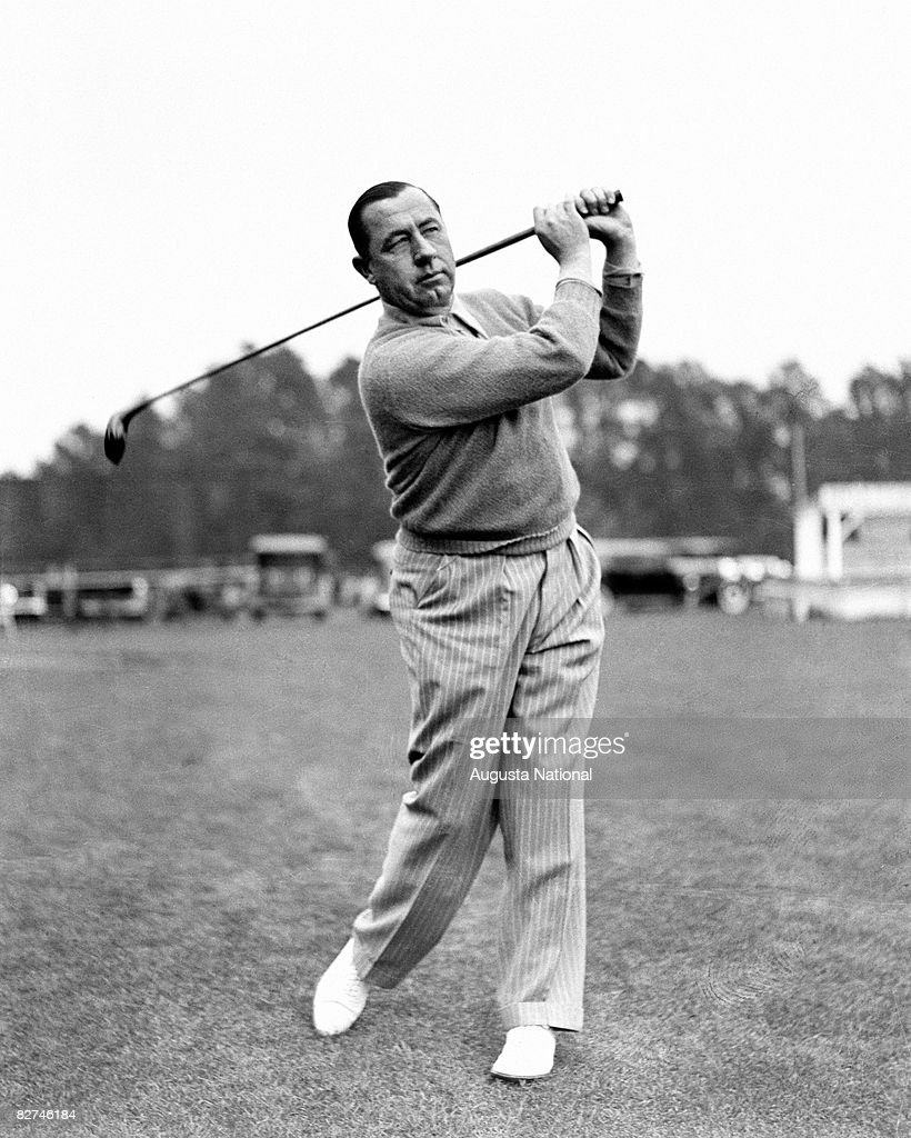 AUGUSTA GA 1940's Walter Hagen takes a swing during a 1940's Masters Tournament at Augusta National Golf Club in Augusta Georgia