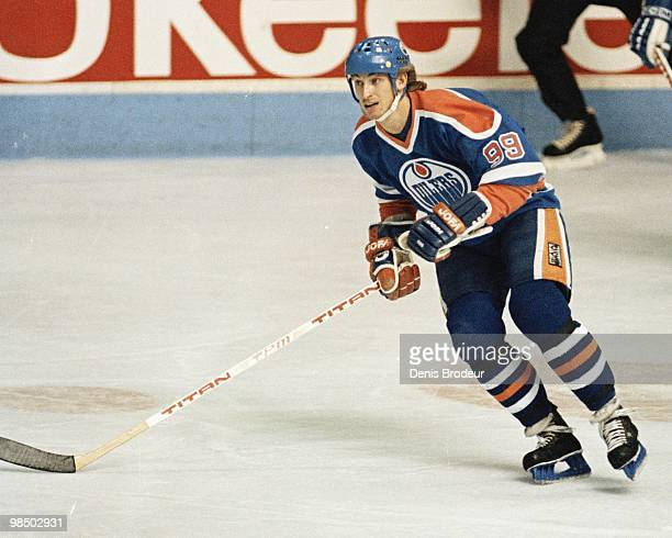 MONTREAL 1980's Wayne Gretzky of the Edmonton Oilers skates against the Montreal Canadiens in the 1980's at the Montreal Forum in Montreal Quebec...