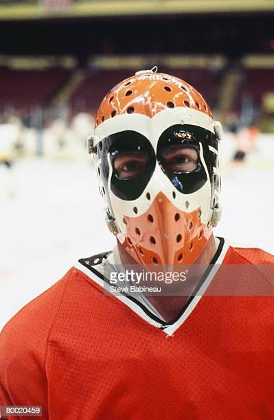 BOSTON MA 1970's Wayne Stephenson of the Philadelphia Flyers poses for camera pre game at Boston Garden