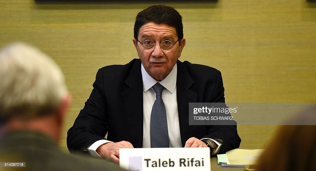UN's World Tourism Organisation Secretary General Taleb Rifai addresses a press conference in Berlin on March 8 before opening the Berlin's tourism...
