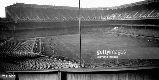 NEW YORK 1920's Yankee Stadium home of the New York Yankees of the American League is set up with additional temporary seating and a football field...