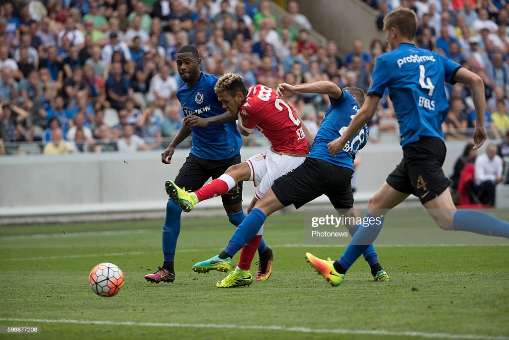 s22 Junior Edmilson midfielder of Standard Liege b24 Stefano Denswil defender of Club Brugge b28 Laurens De Bock defender of Club Brugge during the...