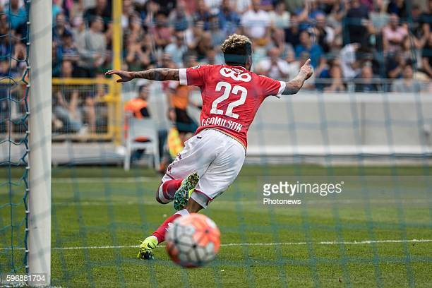 s22 Junior Edmilson midfielder of Standard Liege b24 Stefano Denswil defender of Club Brugge b28 Laurens De Bock defender of Club Brugge during the...