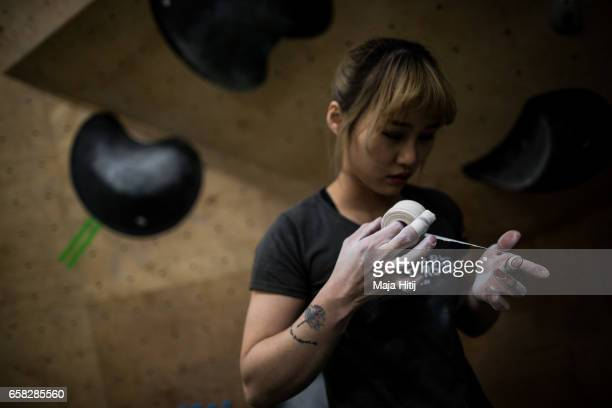 Sa Sol of South Korea prepares prior bouldering event Studio Bloc Masters 2017 on March 26 2017 in Pfungstadt Germany