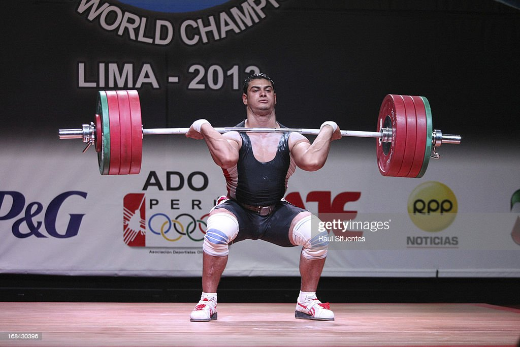 Saad Abouelyazideid Khattab Ossama of Egypt A competes in Men's 94kg during day six of the 2013 Junior Weightlifting World Championship at Maria Angola Convention Center on May 09, 2013 in Lima, Peru.