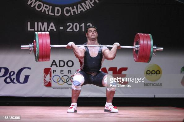Saad Abouelyazideid Khattab Ossama of Egypt A competes in Men's 94kg during day six of the 2013 Junior Weightlifting World Championship at Maria...