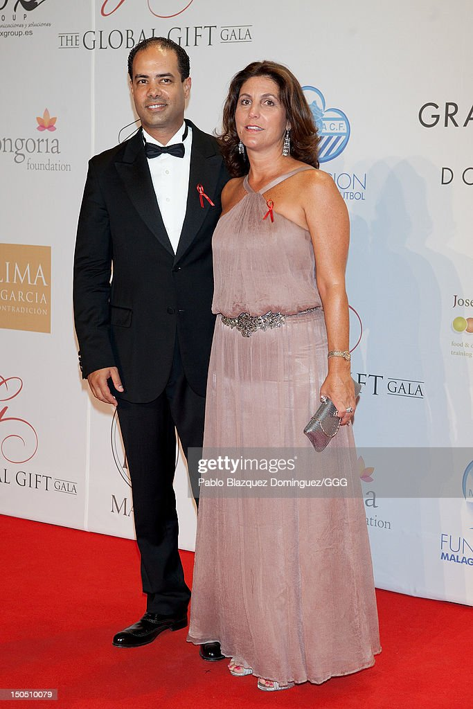 Saad Azzam (L) and his wife attend the Global Gift Gala held to raise benefits for Cesare Scariolo Foundation and Eva Longoria Foundation on August 19, 2012 in Marbella, Spain.